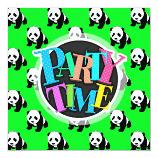 Cute Panda; Neon Green, Black & White Card