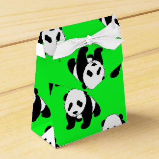 Cute Panda; Neon Green, Black & White Favor Box