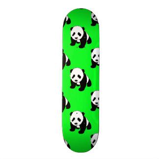 Cute Panda; Neon Green, Black & White Custom Skate Board
