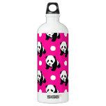 Cute Panda; Neon Pink, Black & White Polka Dots Aluminum Water Bottle