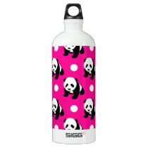 Cute Panda; Neon Pink, Black & White Polka Dots Aluminum Water Bottle