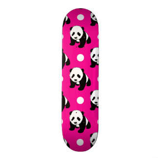 Cute Panda; Neon Pink, Black & White Polka Dots Custom Skateboard