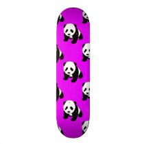 Cute Panda; Neon Purple, Black & White Skateboard Deck