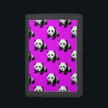 """Cute Panda; Neon Purple, Black &amp; White Trifold Wallet<br><div class=""""desc"""">You will love this cool,  cute,  Panda; Neon Purple,  Black &amp; White  pattern design. Visit our store to see many more great gifts and fun party invitations!  Thank you!</div>"""