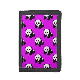 Cute Panda; Neon Purple, Black & White Trifold Wallet