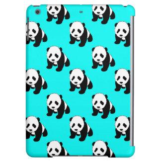 Cute Panda; Neon Turquoise Blue, Black & White Cover For iPad Air
