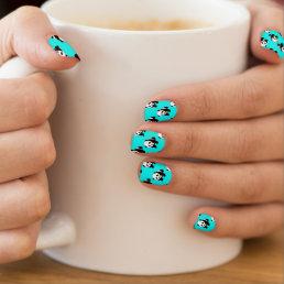 Cute Panda; Neon Turquoise Blue, Black & White Minx Nail Wraps