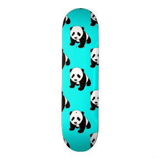 Cute Panda; Neon Turquoise Blue, Black & White Skateboard Deck