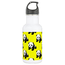Cute Panda; Neon Yellow, Black & White Water Bottle
