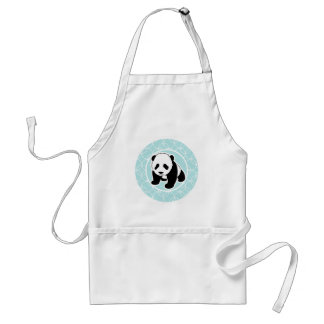 Cute Panda on Baby Blue Circles Adult Apron
