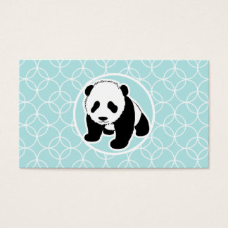 Cute Panda on Baby Blue Circles Business Card