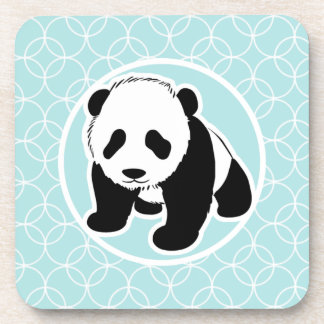 Cute Panda on Baby Blue Circles Coaster