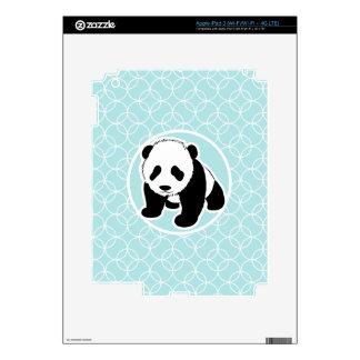 Cute Panda on Baby Blue Circles Skin For iPad 3