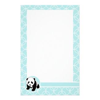 Cute Panda on Baby Blue Circles Stationery