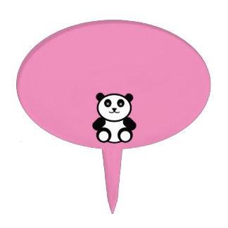 Cute Panda on Pastel Pink Cake Topper