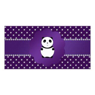 Cute panda purple diamonds customized photo card