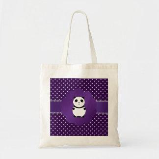 Cute panda purple diamonds tote bag