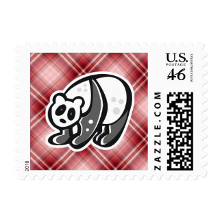 Cute Panda; Red Plaid Postage Stamps