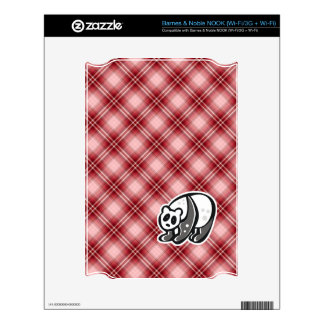 Cute Panda Red Plaid Decal For NOOK