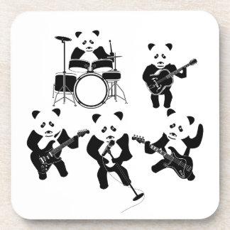 Cute Panda Rock Band Beverage Coaster