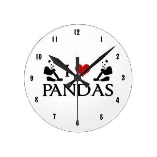 Cute Panda Round Clock