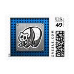 Cute Panda; Silver Postage Stamp