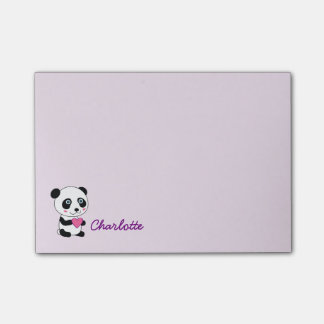 Cute Panda with a Pink Heart Personalized Name Post-it Notes