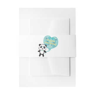 Cute panda with balloon Belly Bands Invitation Belly Band