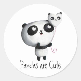Cute Panda with Balloon Classic Round Sticker