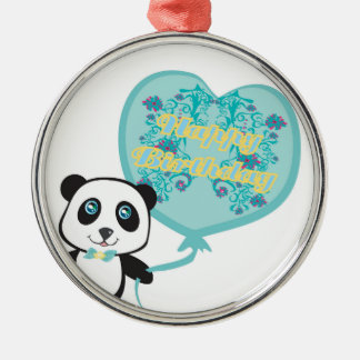 Cute panda with balloon Decoration Metal Ornament