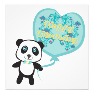 Cute panda with balloon Photo Enlargement