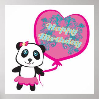 Cute panda with balloon Poster