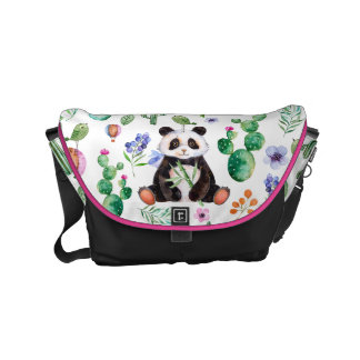 Cute Panda With Colorful Leafs & Cactus Pattern Small Messenger Bag