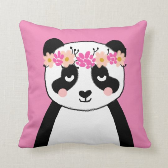 Cute Panda With Flowers Girls Room Pillow Decor Zazzle Com