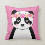 "Cute Panda with Flowers girls room pillow decor<br><div class=""desc"">cute little girls room,  cute panda flowers,  flower crown,  little girls pillow,  little girls panda,  panda pillow</div>"