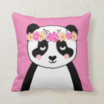 Cute Panda with Flowers girls room pillow decor