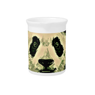 Cute Panda with Glasses Beverage Pitcher