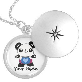 Cute Panda With Heart Pendants