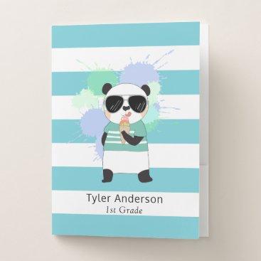 Beach Themed Cute Panda with Ice Cream School Papers Pocket Folder