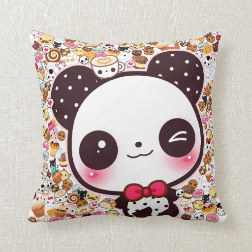 Cute Food Pillow : Cute panda with kawaii food and animals pillow Zazzle
