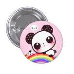Cute panda with kawaii food on rainbow 1 inch round button
