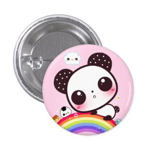 Cute panda with kawaii food on rainbow pinback button