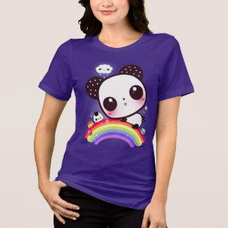 Cute panda with kawaii food on rainbow tee shirt