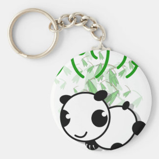 cute panda with leaves keychain