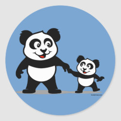 Round Sticker with Cute Panda with one Baby design