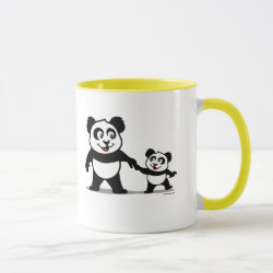 Combo Mug with Cute Panda with one Baby design