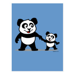 Postcard with Cute Panda with one Baby design