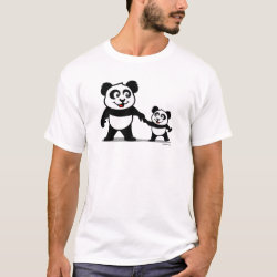Men's Basic T-Shirt with Cute Panda with one Baby design