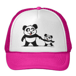 Trucker Hat with Cute Panda with one Baby design