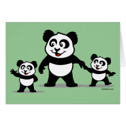 Greeting Card with Cute Panda with two Babies design